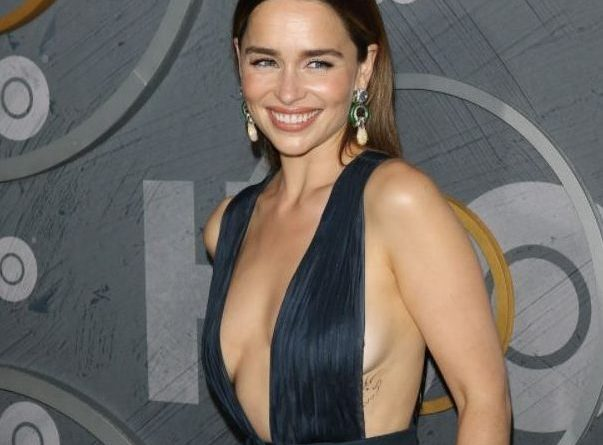 Emilia Clarke chest and ribcage hottest tattoo